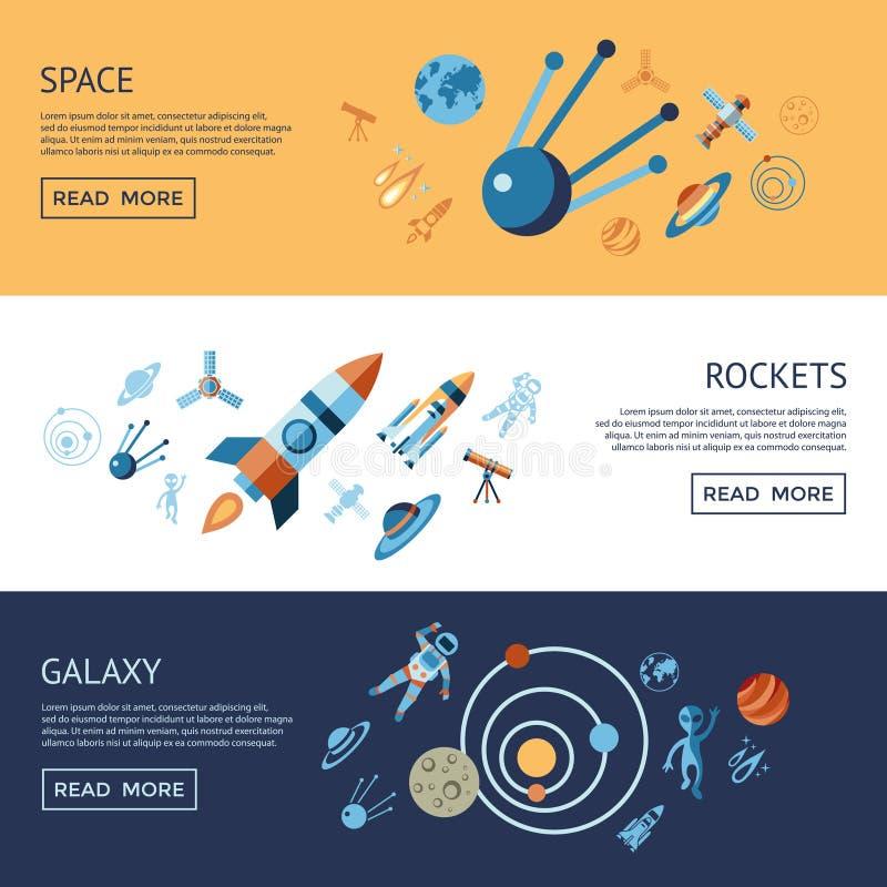 Linha de Digitas espaço e foguetes ajustados ícones ilustração stock