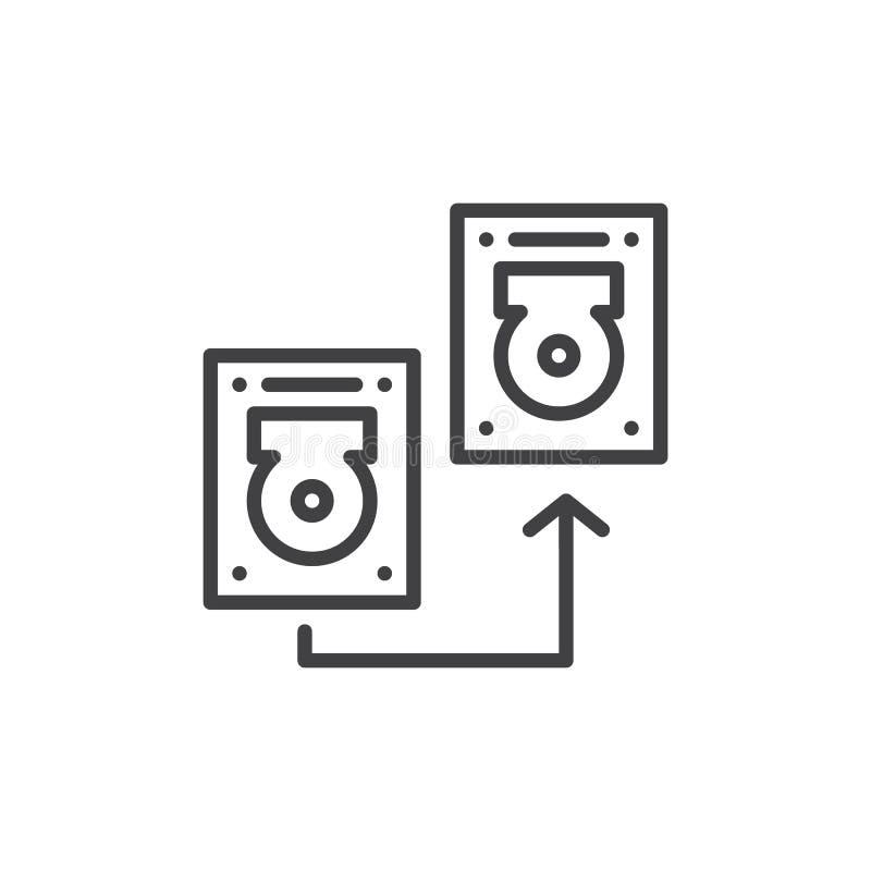 Linha de disco rígido ícone de transferência ilustração stock