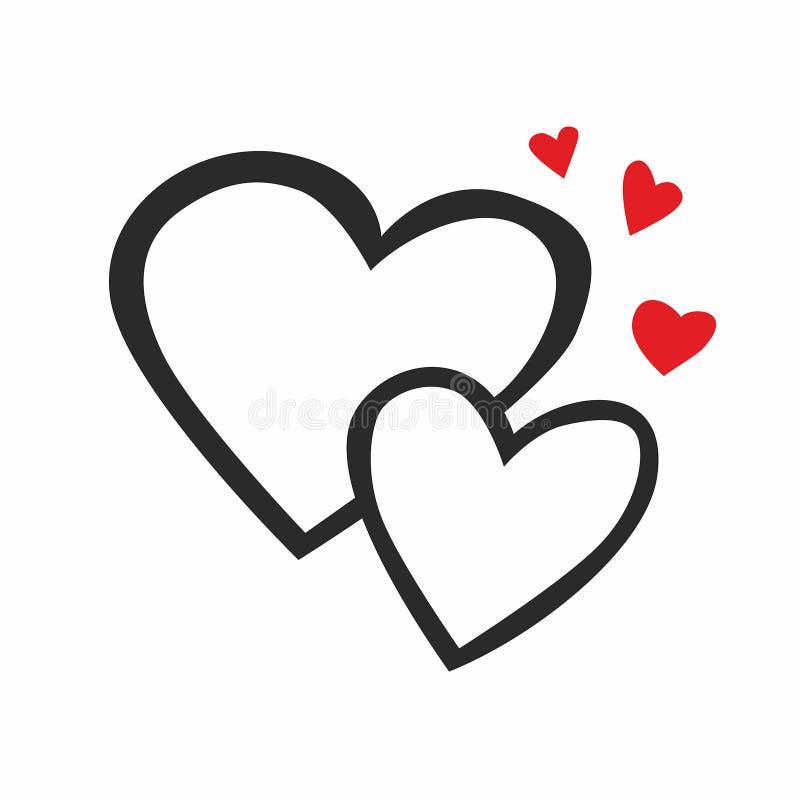 Linha de dois corações ícone ilustração do vetor