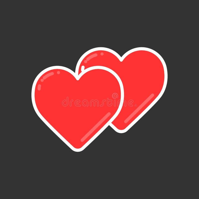A linha de dois corações ícone, vector o símbolo do coração ou o sinal simples do amor Elemento linear do logotipo da cor para o  ilustração royalty free