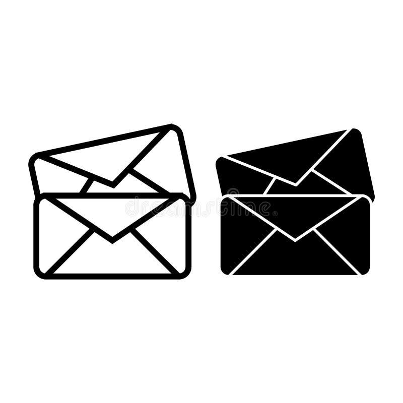 Linha de dois envelopes e ícone do glyph Ilustração do vetor das letras isolada no branco Projeto do estilo do esboço do correio, ilustração do vetor
