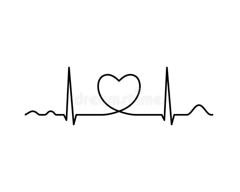 Linha de Ekg com coração heartbeat ilustração do vetor