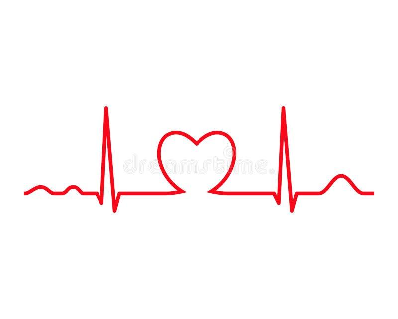 Linha de Ekg com coração heartbeat ilustração royalty free