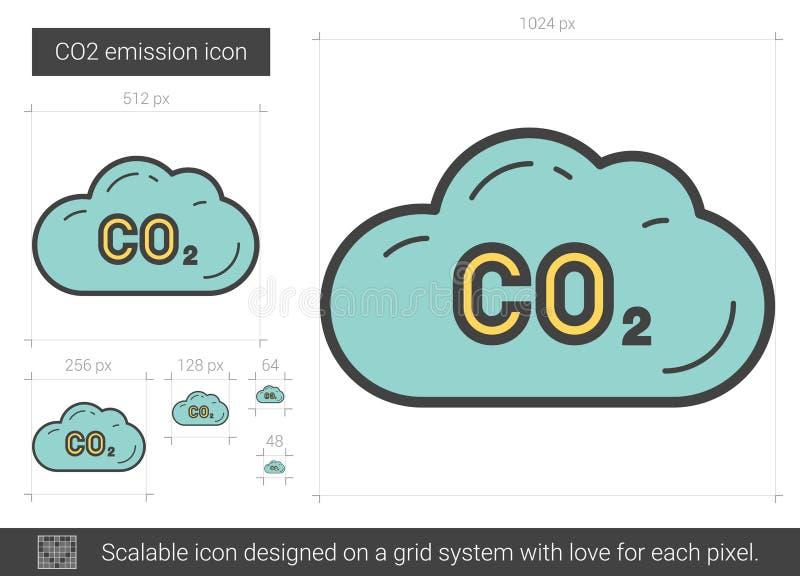 Linha de emissão ícone do CO2 ilustração royalty free