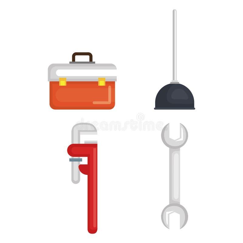 Linha de encanamento ícones do grupo de ferramentas ilustração royalty free