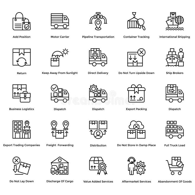 A linha de entrega logística ícones do vetor ajustou 11 ilustração do vetor