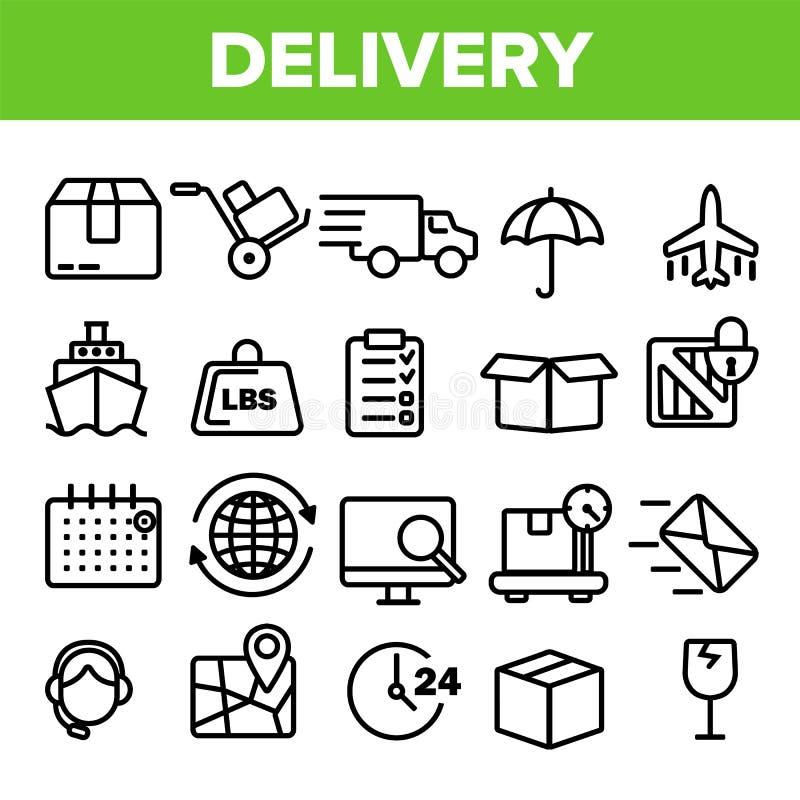 Linha de entrega vetor do grupo do ícone Serviço rápido do transporte Ícones do apoio logístico da entrega 24 Ordem expressa fino ilustração royalty free