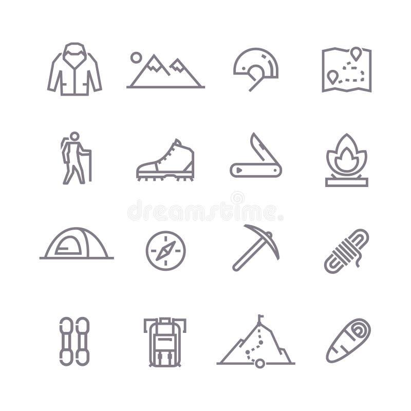 Linha de escalada ícones do vetor ilustração stock
