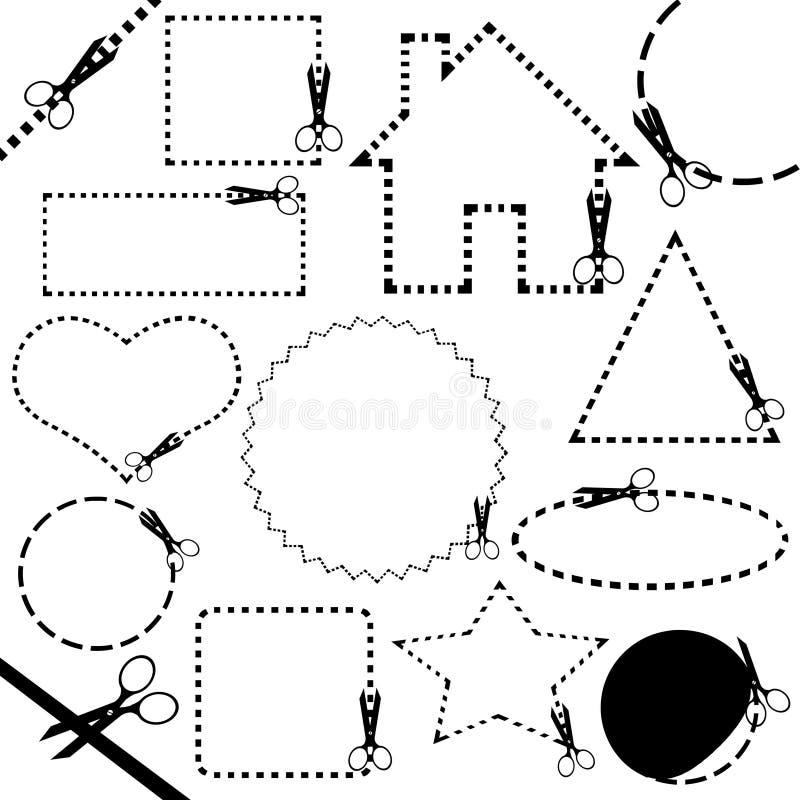 Linha de estaca diferente das tesouras ilustração royalty free