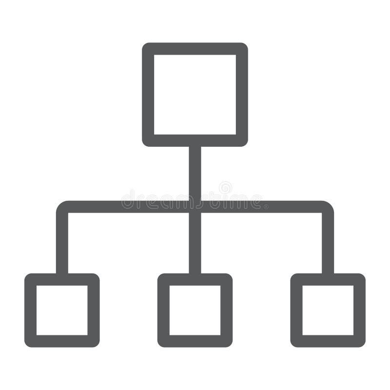 Linha de fluxograma ícone, dados e analítica ilustração royalty free