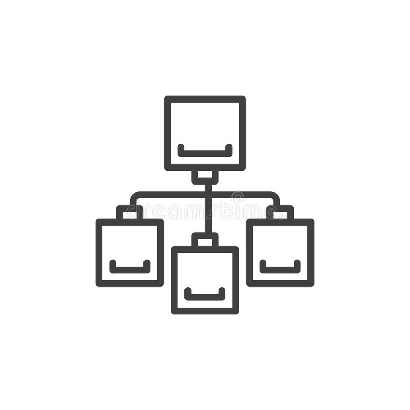 Linha de fluxograma ícone, sinal do vetor do esboço, pictograma linear do estilo isolado no branco Símbolo, ilustração do logotip ilustração royalty free