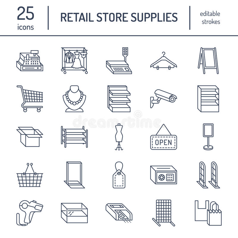 Linha de fontes ícones da loja Sinais de comércio do equipamento da loja ilustração stock