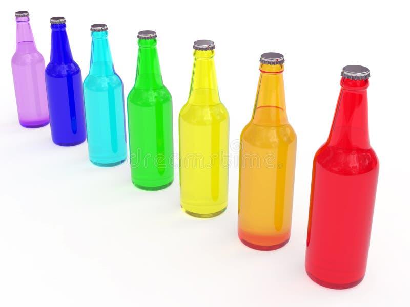 Linha de frascos de cerveja coloridos ilustração royalty free