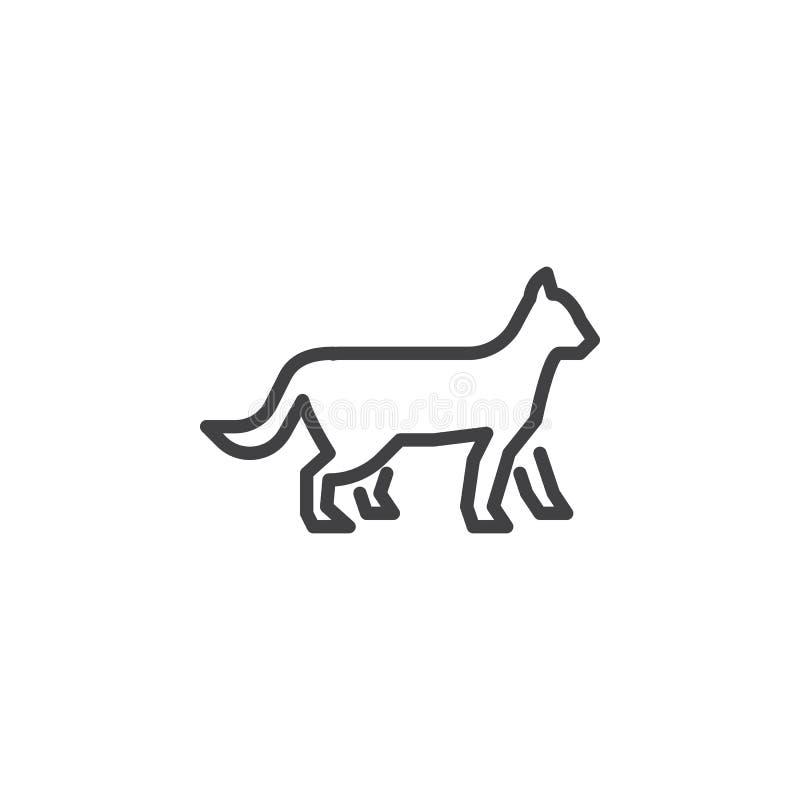 Linha de gato de passeio ícone ilustração do vetor