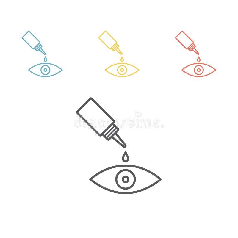 Linha de gotas ícone do olho ilustração stock