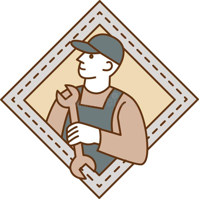 Linha de Holding Wrench Crest do mecânico mono ilustração royalty free