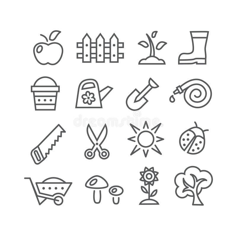 Linha de jardinagem ícones ilustração do vetor