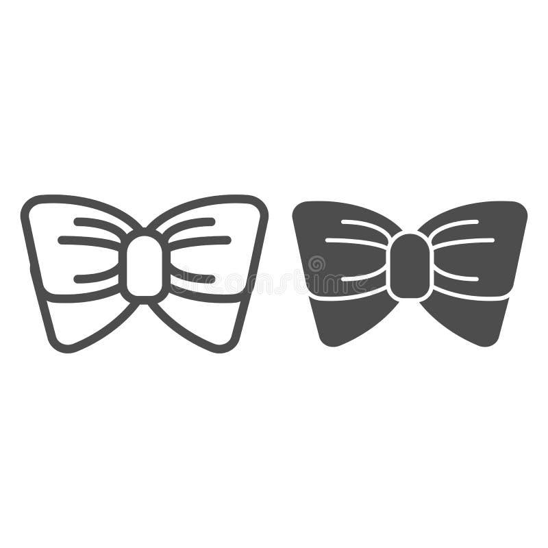 Linha de laço e ícone do glyph Ilustração do vetor do nó isolada no branco Projeto do estilo do esboço da gravata, projetado para ilustração do vetor
