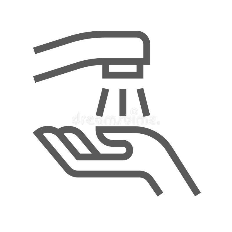 Linha de lavagem ícone do vetor da mão ilustração stock