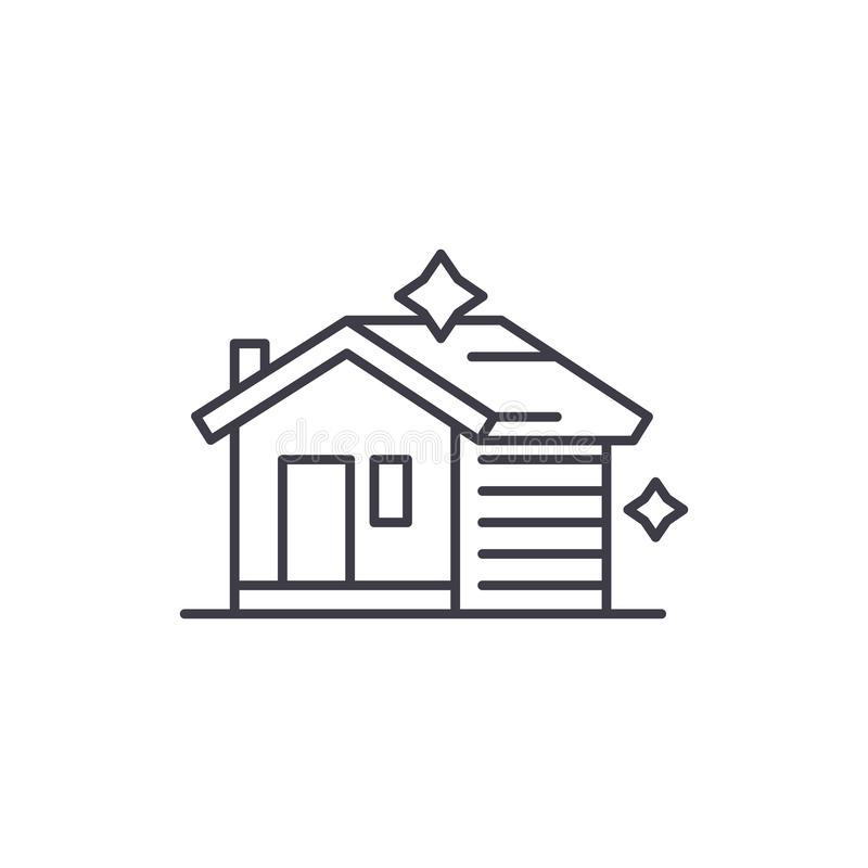 Linha de limpeza conceito da casa do ícone Ilustração linear de limpeza do vetor da casa, símbolo, sinal ilustração stock