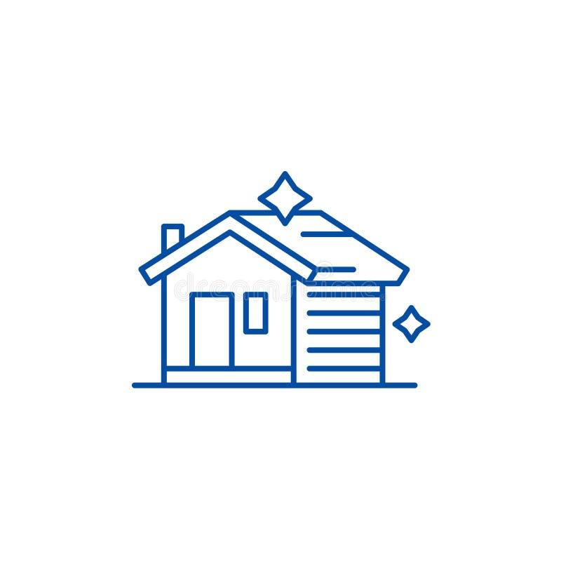 Linha de limpeza conceito da casa do ícone Casa que limpa o símbolo liso do vetor, sinal, ilustração do esboço ilustração royalty free