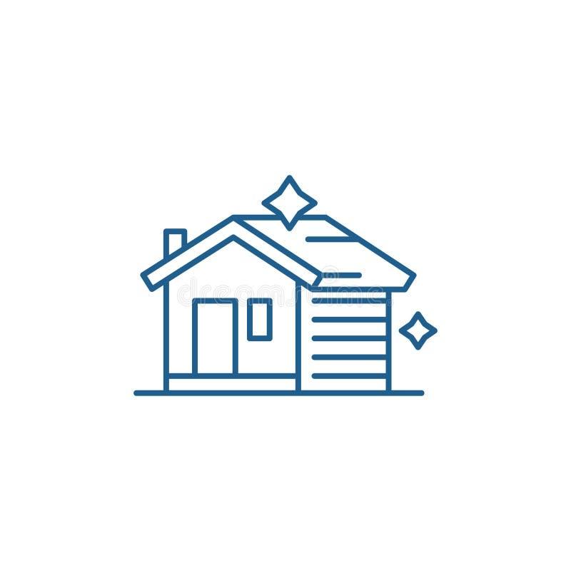 Linha de limpeza conceito da casa do ícone Casa que limpa o símbolo liso do vetor, sinal, ilustração do esboço ilustração stock