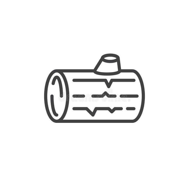 Linha de log de madeira ícone, sinal do vetor do esboço, pictograma linear do estilo isolado no branco Símbolo, ilustração do log ilustração do vetor