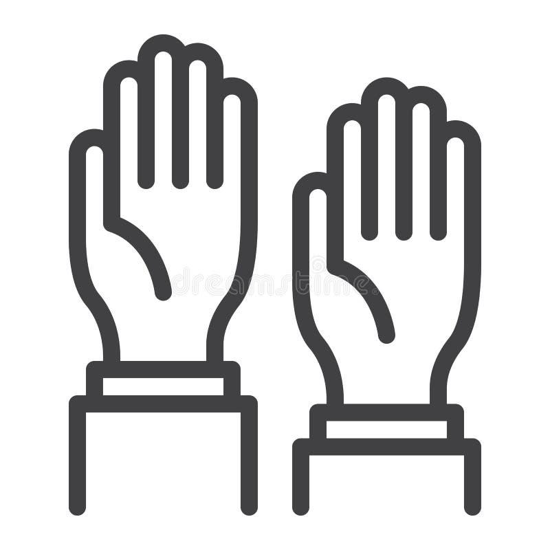 Linha de mãos ícone ilustração stock