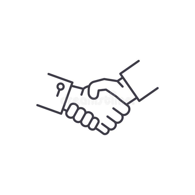 Linha de mãos conceito da agitação do ícone Ilustração linear do vetor das mãos da agitação, símbolo, sinal ilustração do vetor