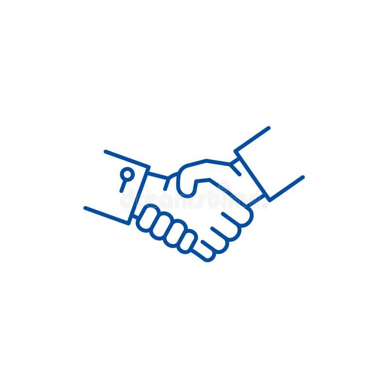 Linha de mãos conceito da agitação do ícone Símbolo liso do vetor das mãos da agitação, sinal, ilustração do esboço ilustração stock