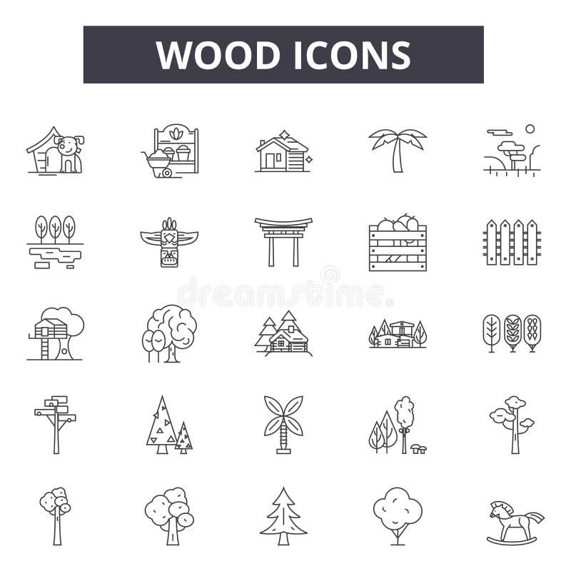 Linha de madeira ícones, sinais, grupo do vetor, conceito da ilustração do esboço ilustração royalty free