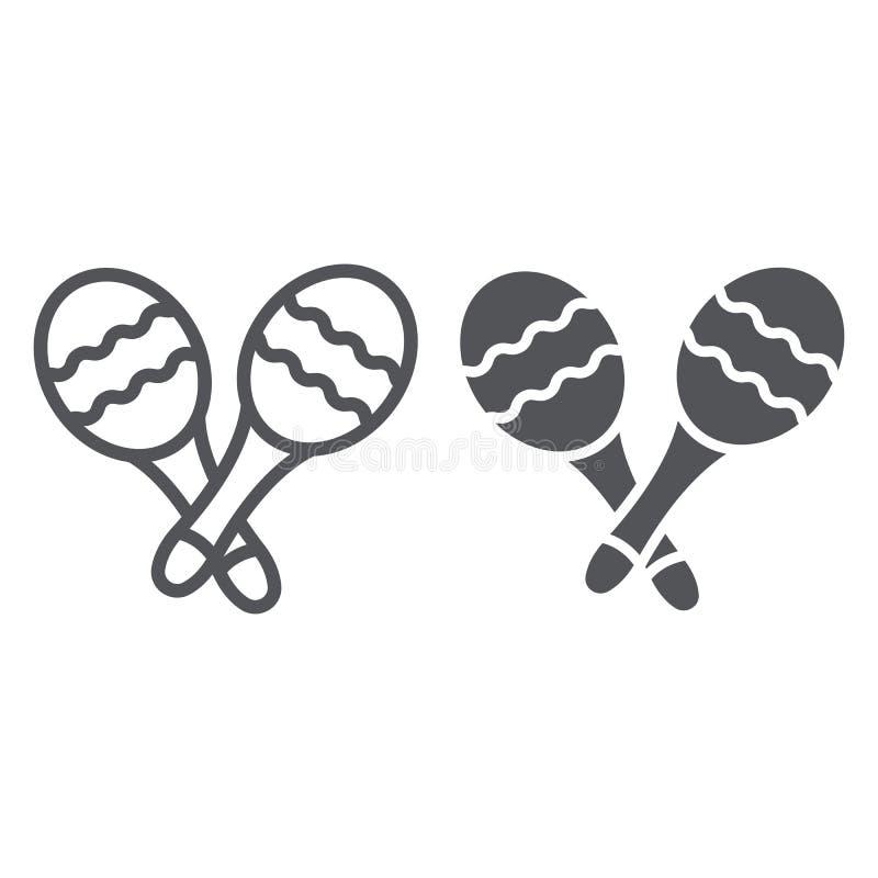 Linha de Maracas e ícone do glyph, música e percussão, sinal mexicano do instrumento musical, gráficos de vetor, um teste padrão  ilustração royalty free