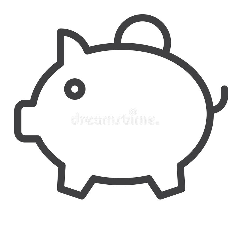 Linha de mealheiro ícone ilustração royalty free