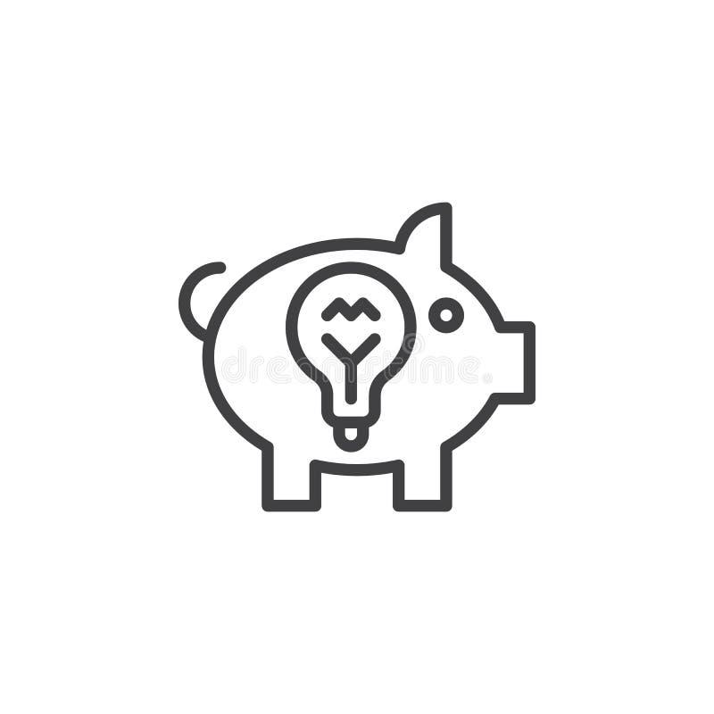 Linha de mealheiro ícone da ideia, sinal do vetor do esboço, pictograma linear do estilo isolado no branco ilustração stock