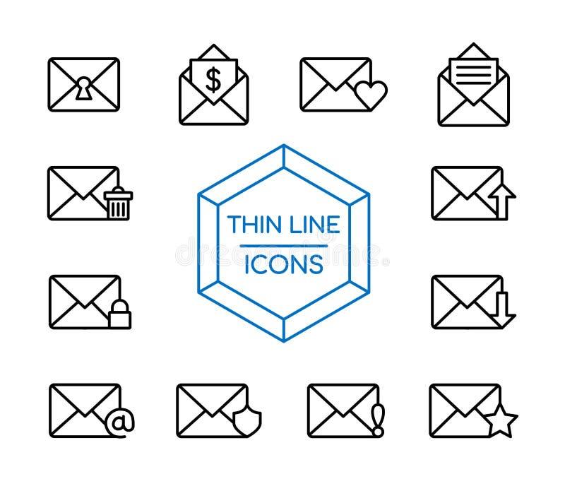 A linha de mensagem ícone do correio ajustou-se para o mercado do negócio ilustração royalty free