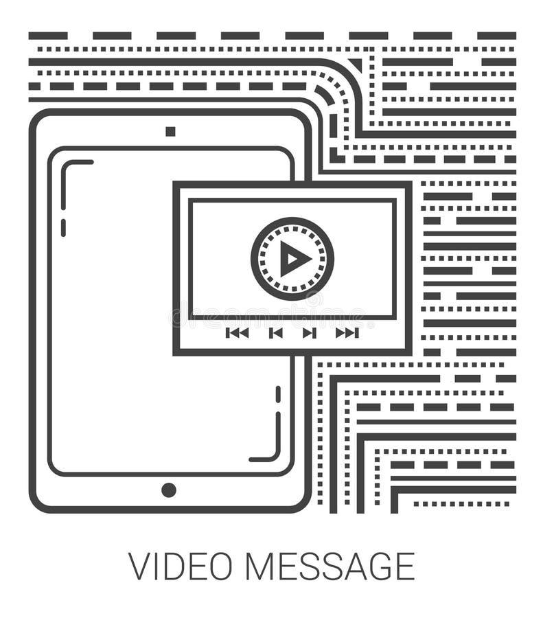 Linha de mensagem video ícones ilustração stock