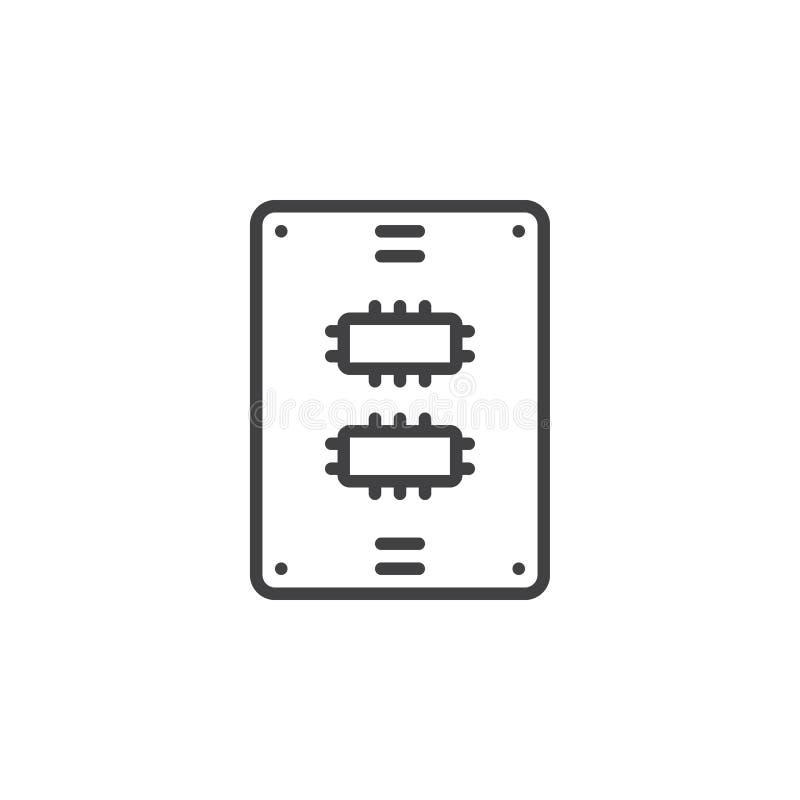 Linha de movimentação ícone do Ssd, sinal do vetor do esboço ilustração do vetor