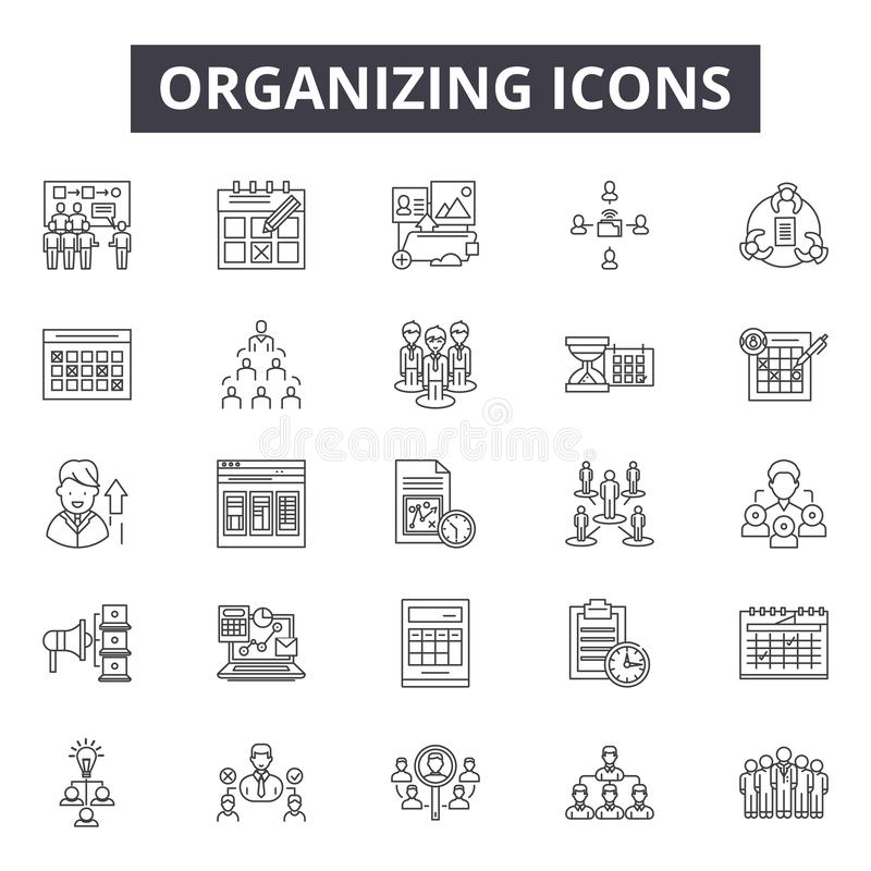 Linha de organização ícones, sinais, grupo do vetor, conceito linear, ilustração do esboço ilustração stock