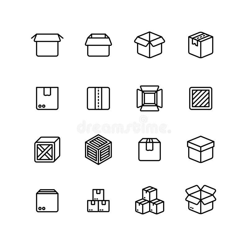 Linha de papel e de madeira ícones da caixa Pictograma do vetor do esboço da embalagem do transporte ilustração do vetor