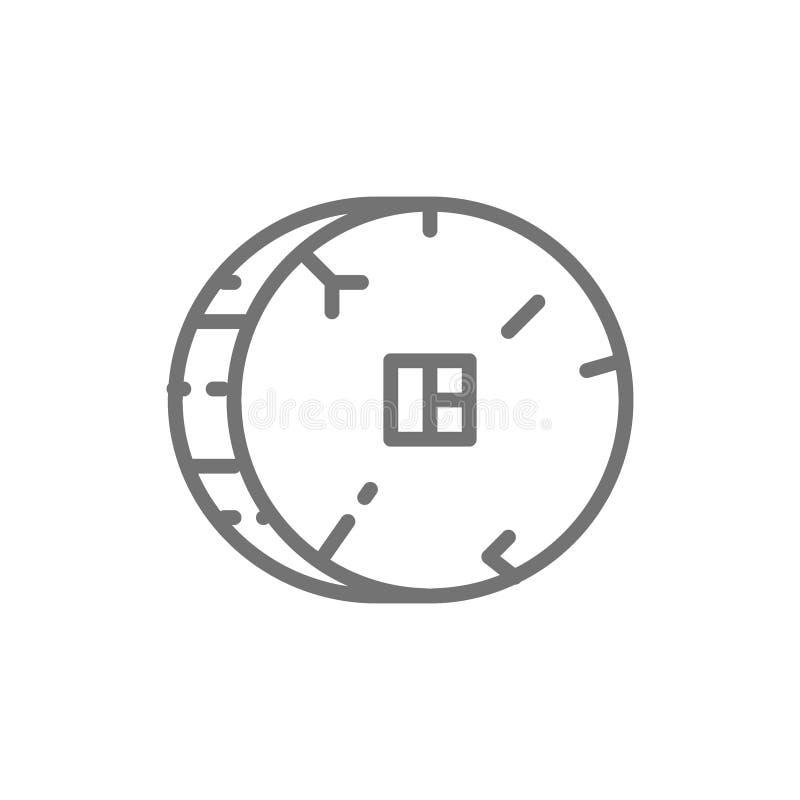 Linha de pedra pré-histórica ícone da roda ilustração stock
