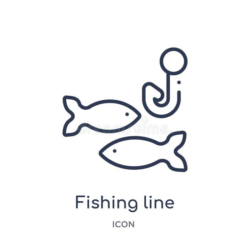 Linha de pesca linear ícone da coleção do esboço do alimento Linha fina linha de pesca ícone isolado no fundo branco Linha de pes ilustração stock