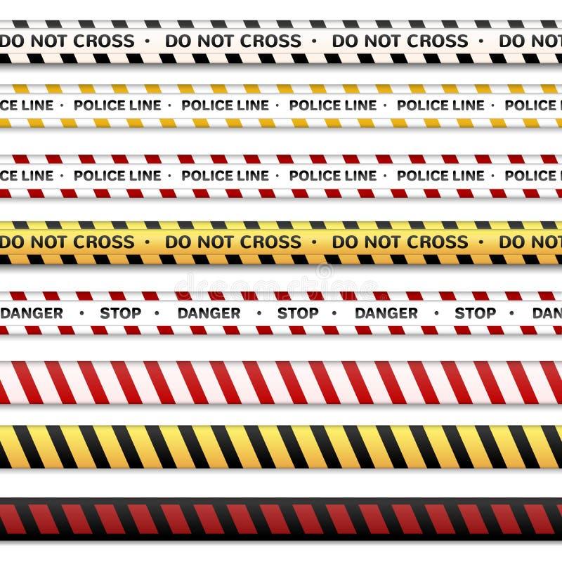 A linha de polícia e não se cruza, para advertir linhas Fitas de advertência isoladas em um fundo transparente ilustração do vetor