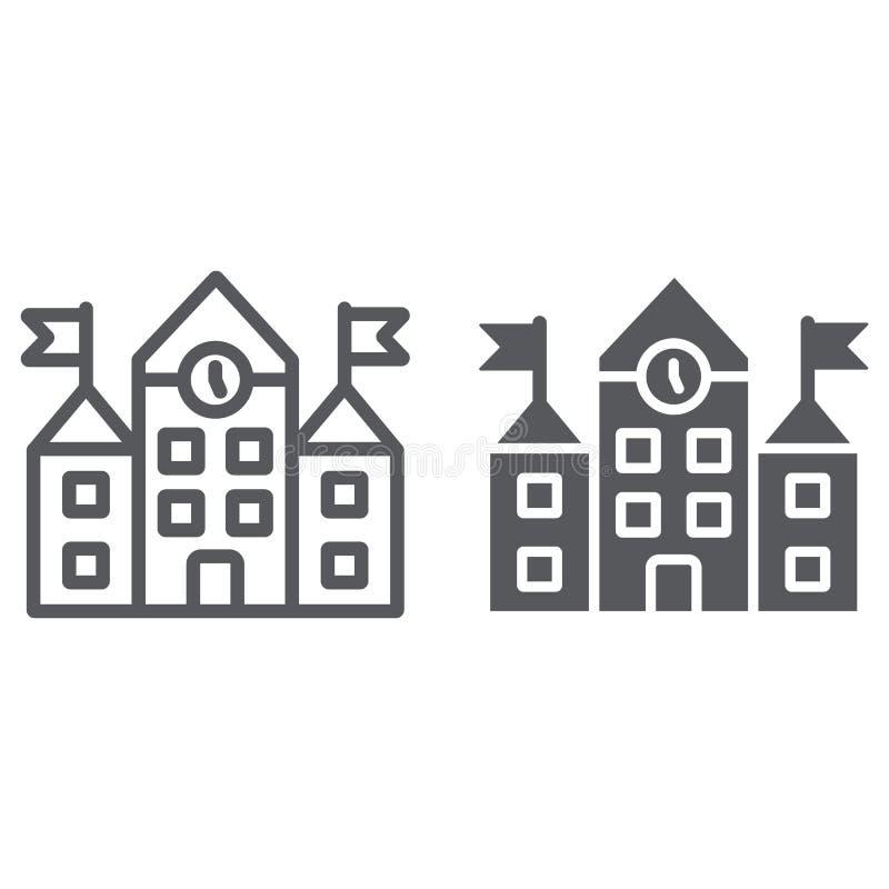 Linha de prédio da escola e ícone do glyph, educação e arquitetura, sinal da universidade, gráficos de vetor, um teste padrão lin ilustração stock