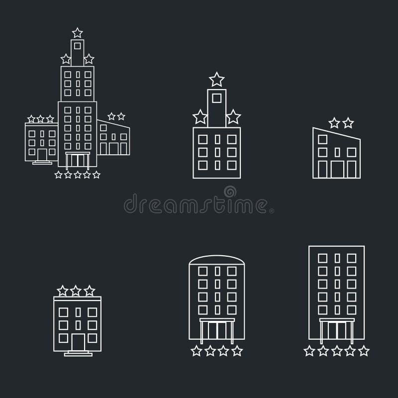 Linha de prédio de escritórios ícone, sinal do vetor do esboço, pictograma linear do estilo isolado no branco Símbolo da torre do ilustração do vetor