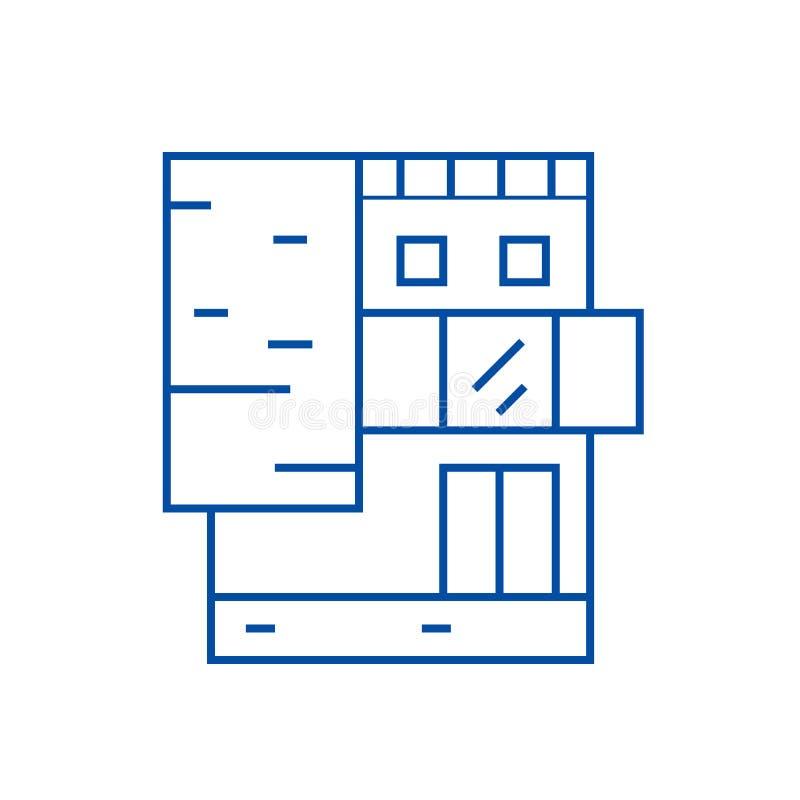 Linha de prédio de escritórios pequena conceito do ícone Símbolo liso do vetor do prédio de escritórios pequeno, sinal, ilustraçã ilustração royalty free