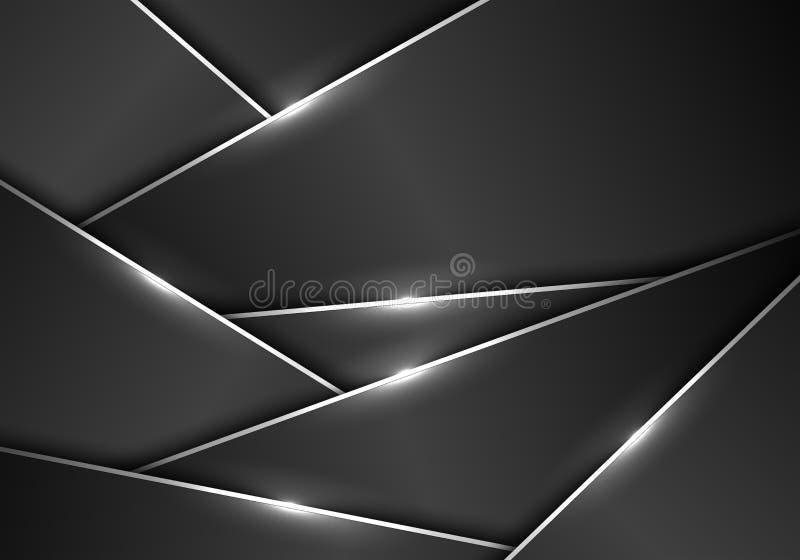 Linha de prata vetor luxuoso futurista moderno do teste padrão poligonal metálico cinzento escuro do sumário do fundo do projeto ilustração do vetor