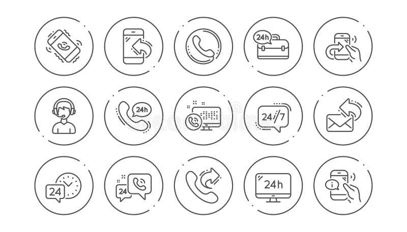 Linha de processamento ícones Mensagem do centro de atendimento, do apoio e do bate-papo Grupo linear do ícone Vetor ilustração stock