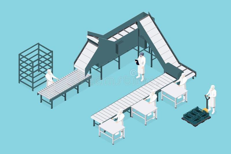 Linha de processo na fábrica do alimento isométrica Indústria alimentar ilustração stock