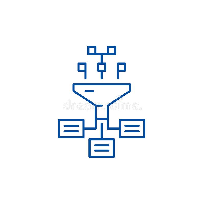 Linha de processos conceito da informação do ícone A informação processa o símbolo liso do vetor, sinal, ilustração do esboço ilustração royalty free