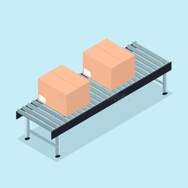 Linha de produção automatizada fábrica da correia transportadora para a indústria ilustração royalty free
